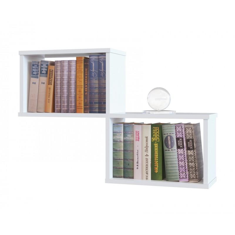 Полка для книг из двух секций 520×780×196 Белый (ПК-2-белый)