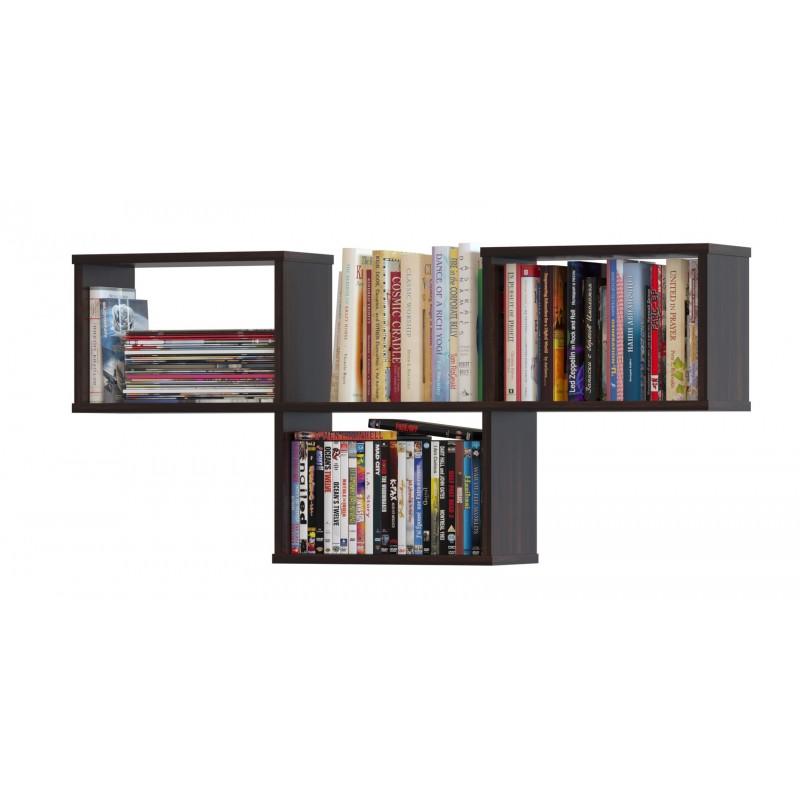 Полка книжная на три секции из ЛДСП 520×1150×196 Венге (ПК-3-венге)