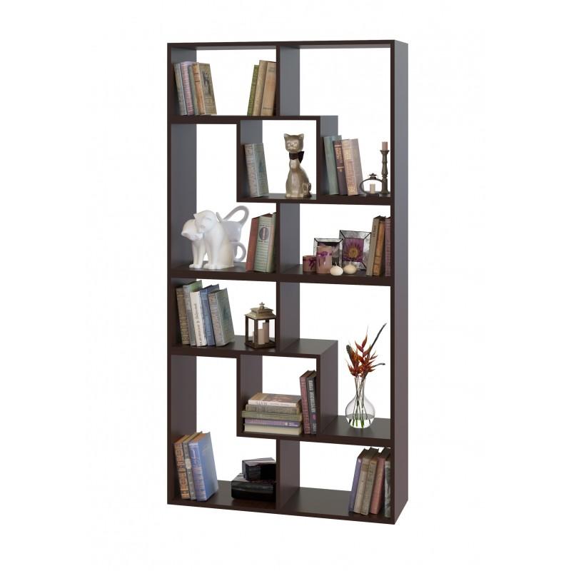 Высокий модульный стеллаж для дома и офиса 1800×900×296 Венге (СТ-900-венге)