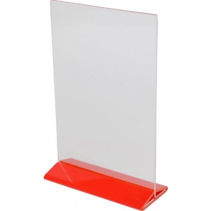 Менюхолдер  А5 формата вертикальный с красной ножкой